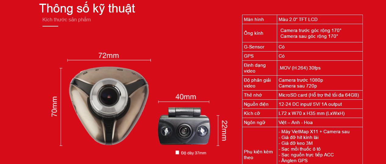 Thông số kỹ thuật của camera hành trình vietmap x11 tại thành nam