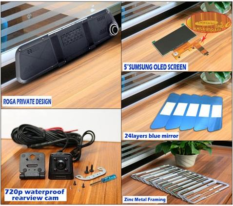 Trọn bộ sản phẩm Camera hành trình Gương 2 mắt Roga LX2S Oled Samsung