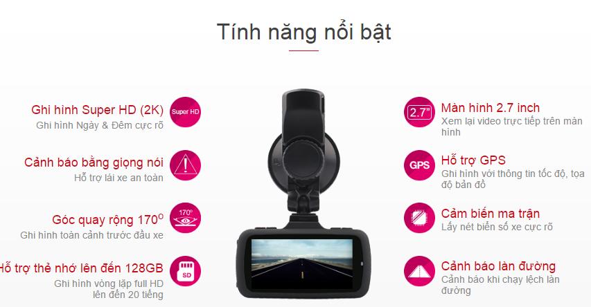 Tính năng của Camera hành trình vietmap K9 Pro ghi hình 2K.