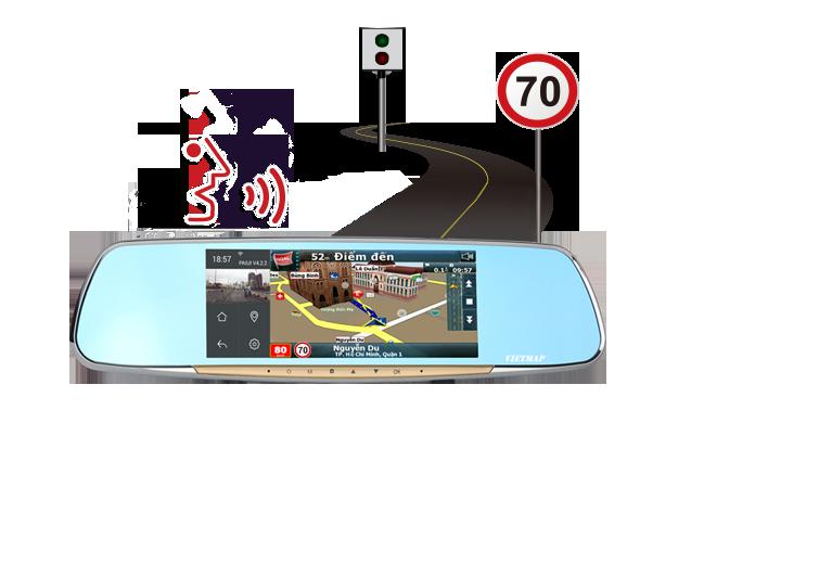 Camera hành trình Vietmap G68 cảnh báo giới hạn tốc độ bằng giọng nói