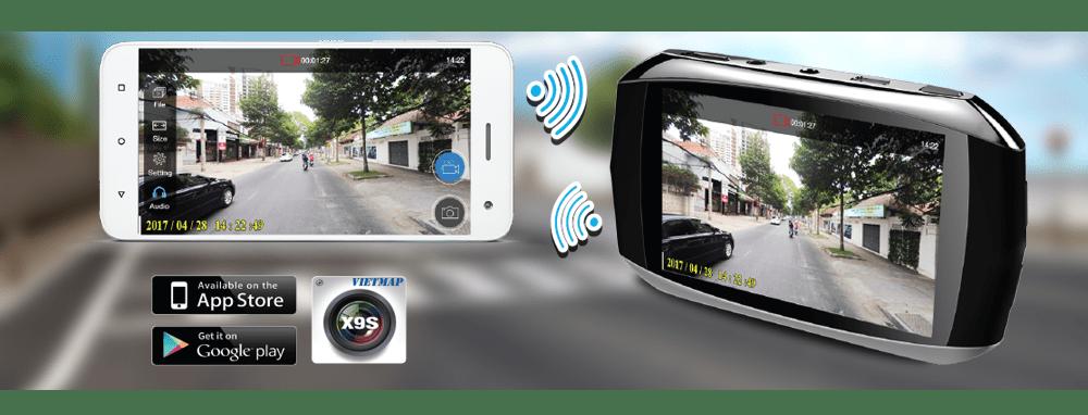 Camera hành trình Vietmap X9S kêt nối wifi - xem video trực tiếp trên điện thoại