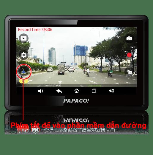 phím tắt để vào phần mềm thiết bị dẫn đường waygo 810