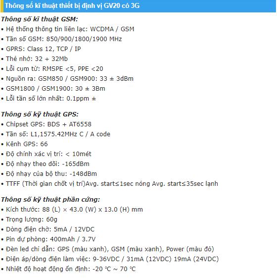 thông số kĩ thuật thiết bị định vị ô tô GV20