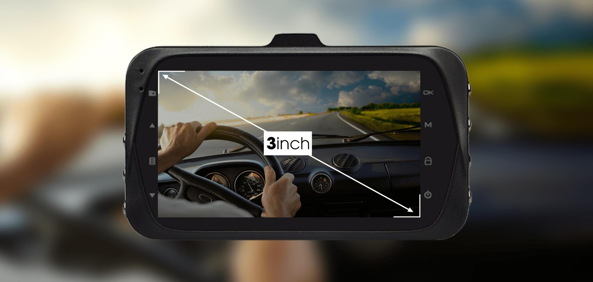 Màn hình LCD 3 inch của camera hành trình ô tô D168