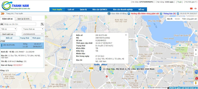 Phần mềm trực tuyến của PT02 xác định vị trí hiện tại xe đang ở đâu