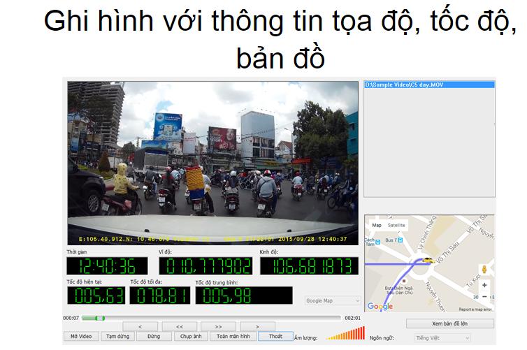 vietmap c5 ghi hình với thông tin tốc độ tọa độ