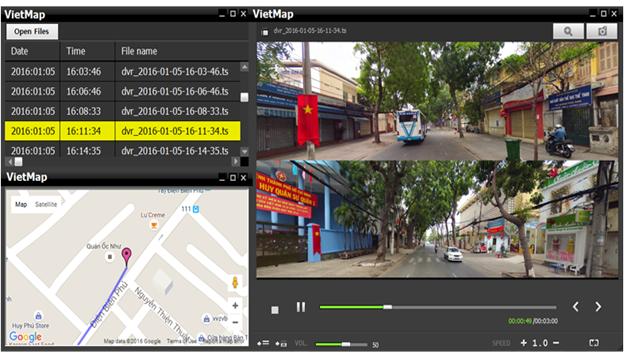 các giao diện chính trên màn hình của camera hành trình xe vietmap k12