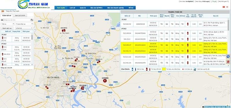 Phầm mềm quản lý GPS đi kèm thiết bị giám sát hành trình TG007