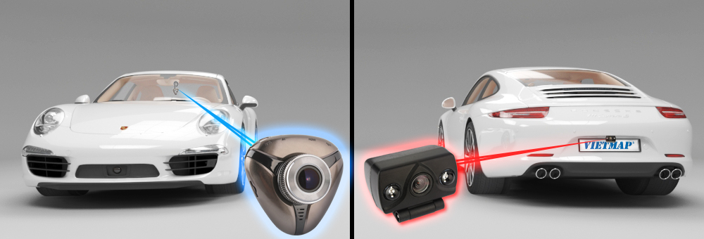 Camera hành trình vietmap x11 ghi hình 2 mắt tại đầu xe và sau xe