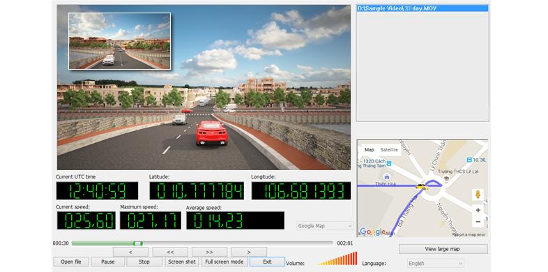 Camera hành trình vietmap x11 ghi hình vơi thông tin tọa độ bản đồ
