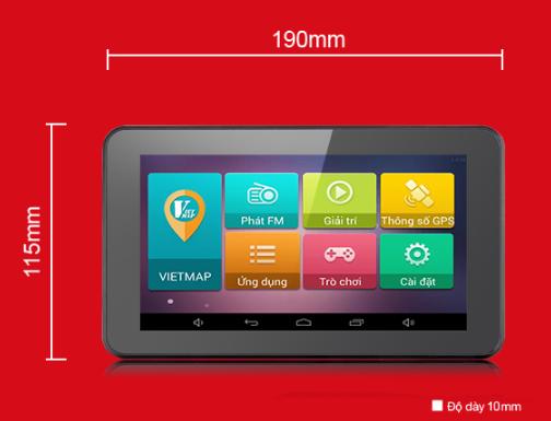 Vietmap B70 sở hữu màn hình khủng giúp hiện thị hình ảnh và giao diện chỉ dẫn đường rõ nét