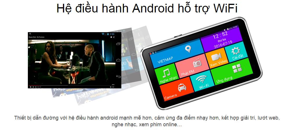 Camera hành trình kiêm dẫn đường Vietmap A45 sử dụng hệ điều hành Android