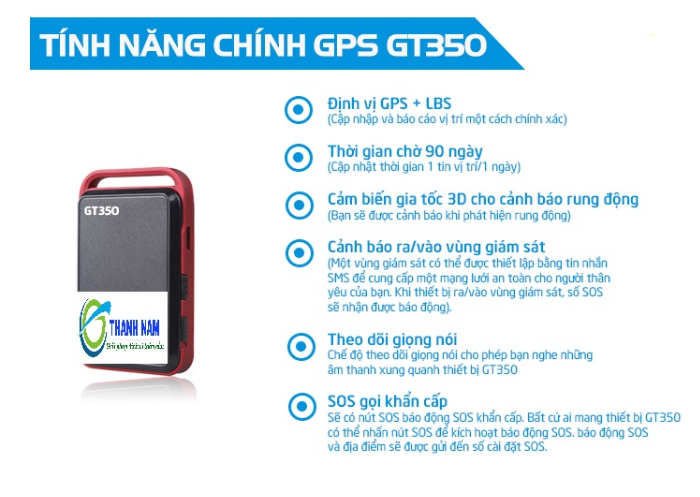 tính năng chính của định vị dùng pin siêu nhỏ GT350