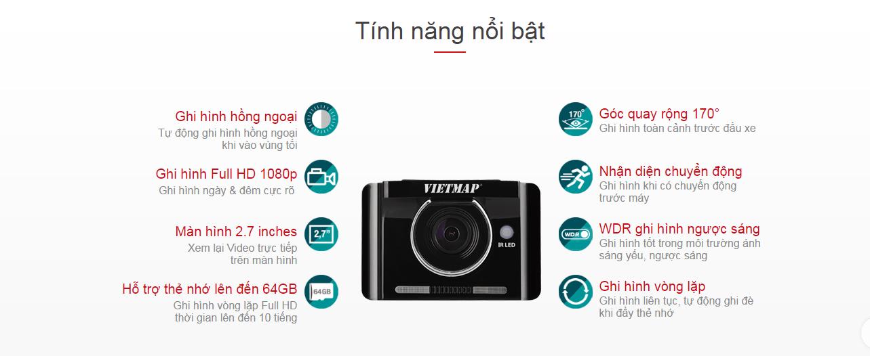 Các tính năng chính của camera hành trình ô tô Vietmap IR22