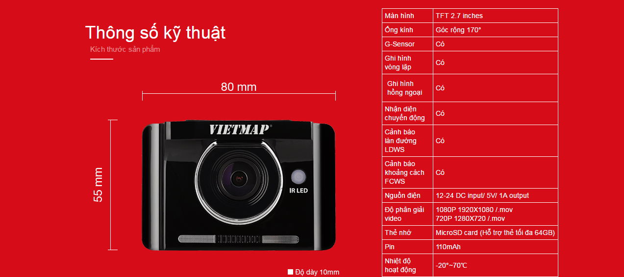 thông số kỹ thuật của camera hành trình xe cao cấp IR22
