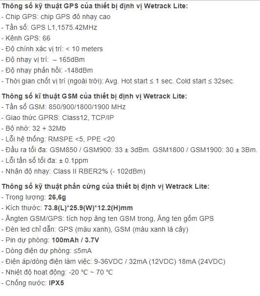 Thông số kĩ thuật của wetrack Lite