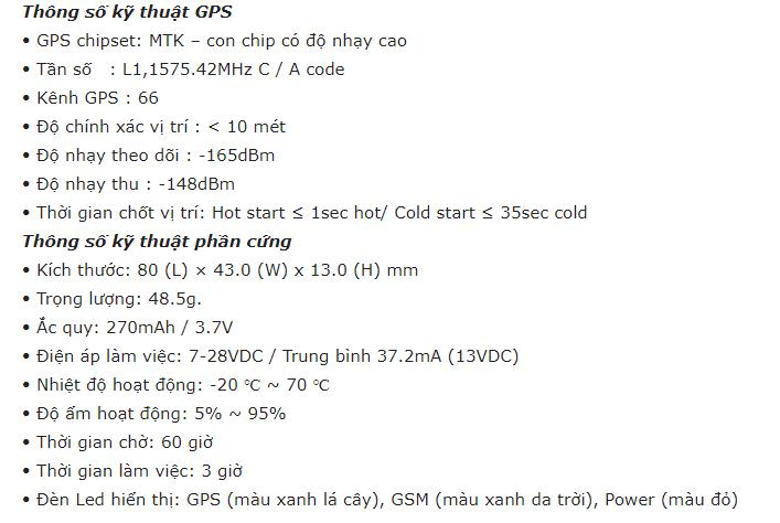 thông số kỹ thuật GPS của M200
