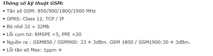 thông số kỹ thuật GMS của định vị ô tô MT200