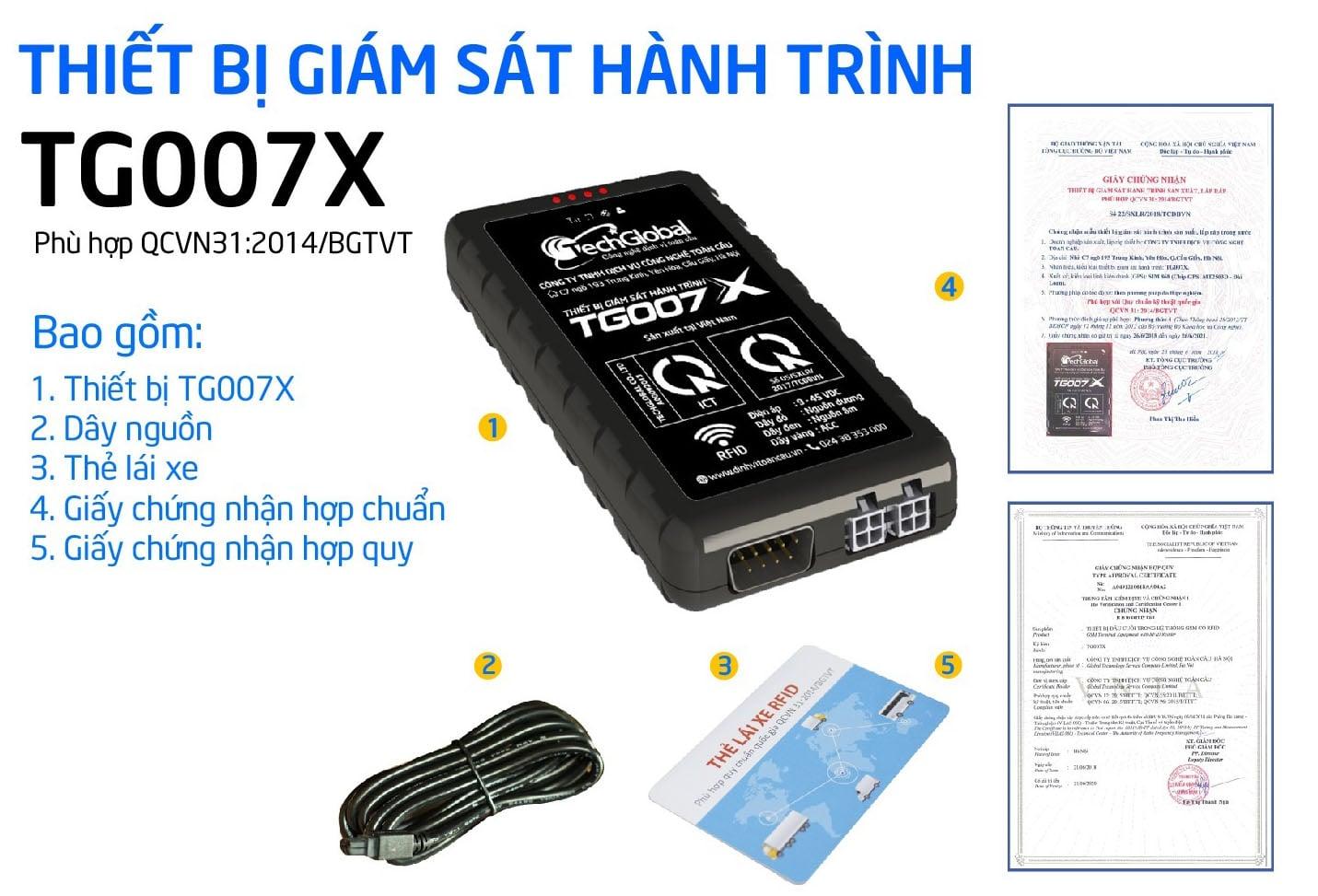 thiết bị định vị Tg007X đạt chuẩn Bộ GTVT Việt Nam