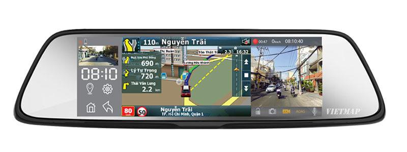 giao diện màn hình vừa dẫn đường vừa ghi hình của vietmap g79