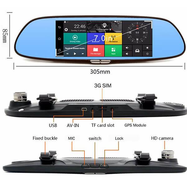 thiết kế tinh tế và cấu tạo của camera hành trình gương Firstscene C08