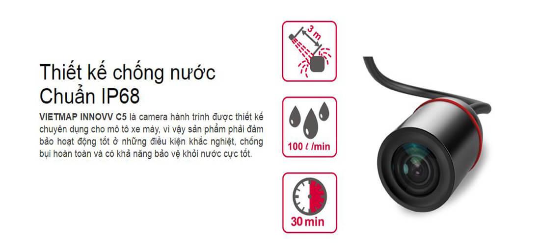 camera hành trình mô tô có khả năng chống nước tốt - đạt chuẩn IP68