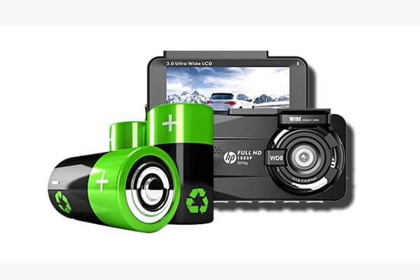 camera hành trình ô tô hp f860x được trang bị pin dự phòng có dung lượng cao