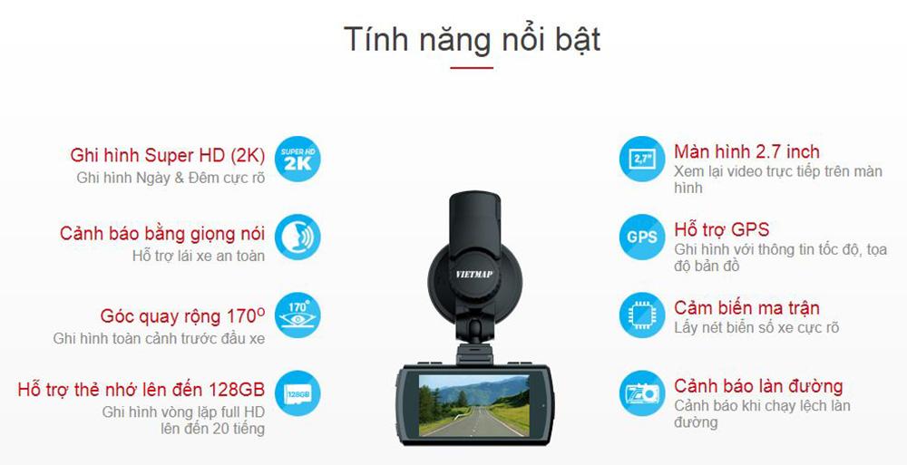 tính năng chính của camera hành trình vietmap k9s