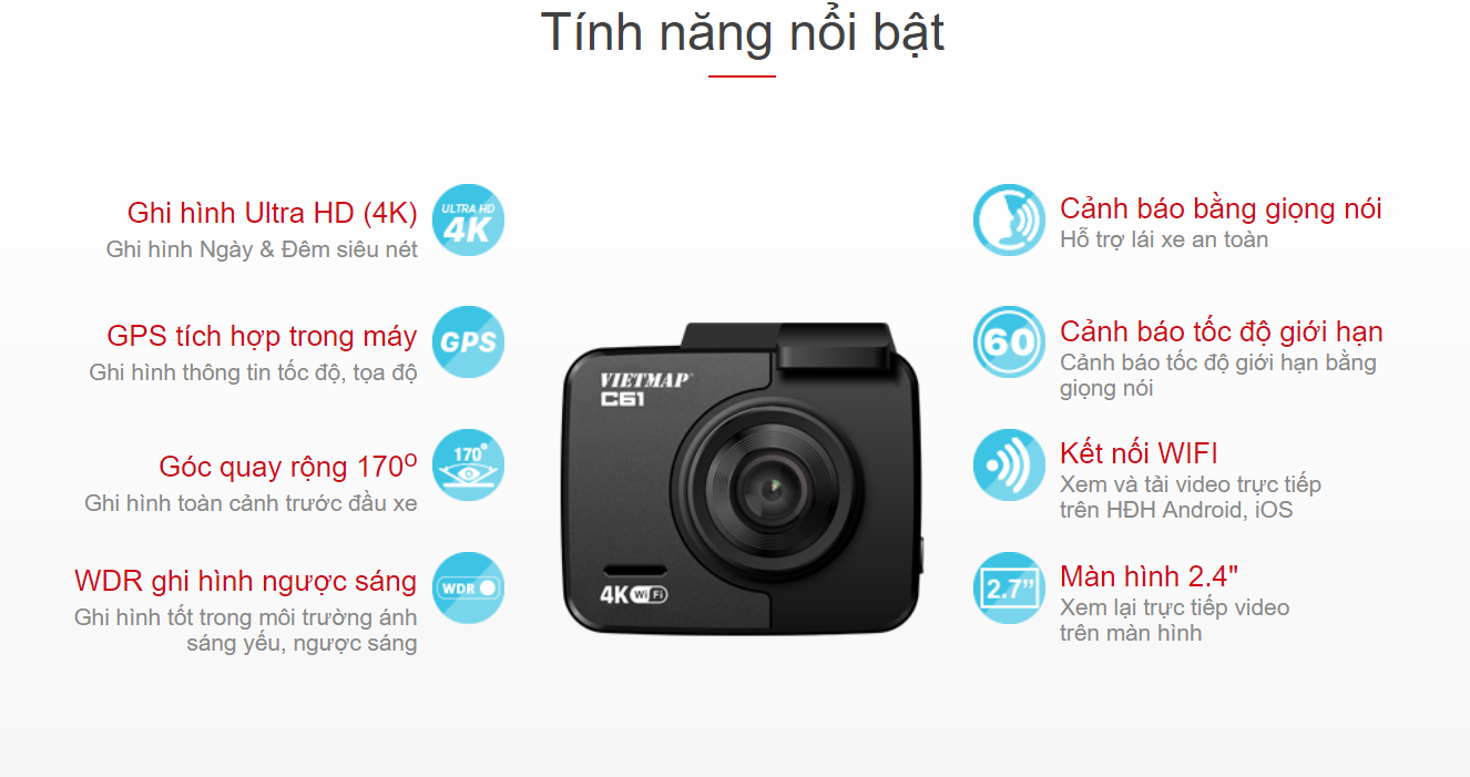 tính năng chính của camera hành trình vietmap c61