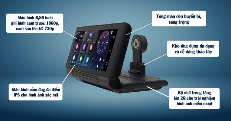 giao diện hiện đại của chiếc camera hành trình đời mới này