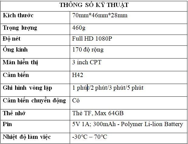 thông số kỹ thuật chi tiết của camera hành trình x650s