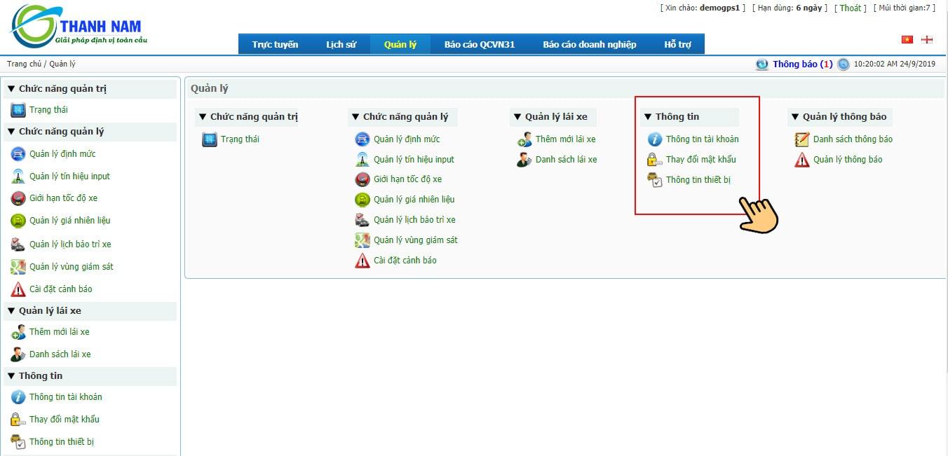 hướng dẫn sử dụng dịch vụ phần mềm quản lý xe-thông tin tài khoản
