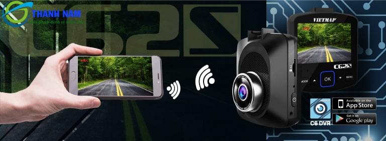 camera hành trình ô tô vietmap c62s có khả năng kết nối wifi, gps