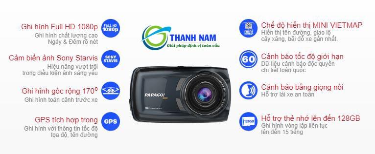 các tính năng nổi bật của camera hành trình vietmap papago gosafe s70g