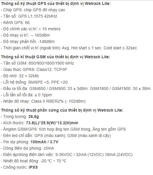 chi tiết thông số kỹ thuật của thiết bị định vị xe honda - wetrack lite