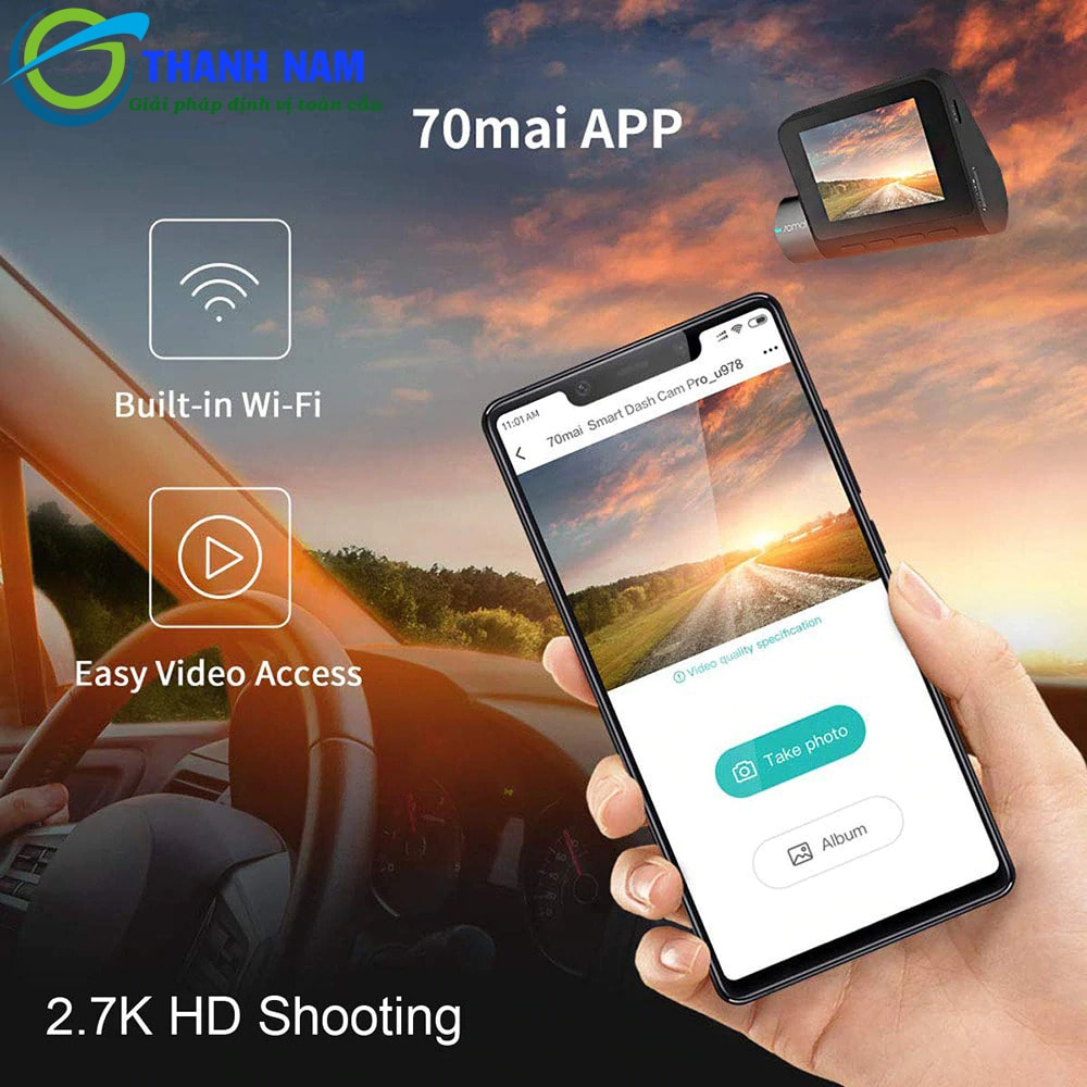 70mai pro kết nối wifi hỗ trợ xem và tải video về ĐTDĐ