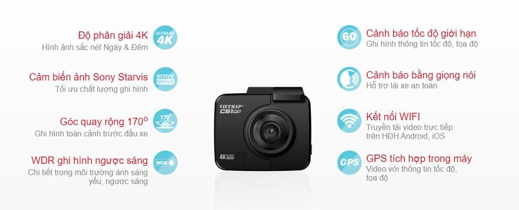 tính năng chính của camera hành trình vietmap c61 pro