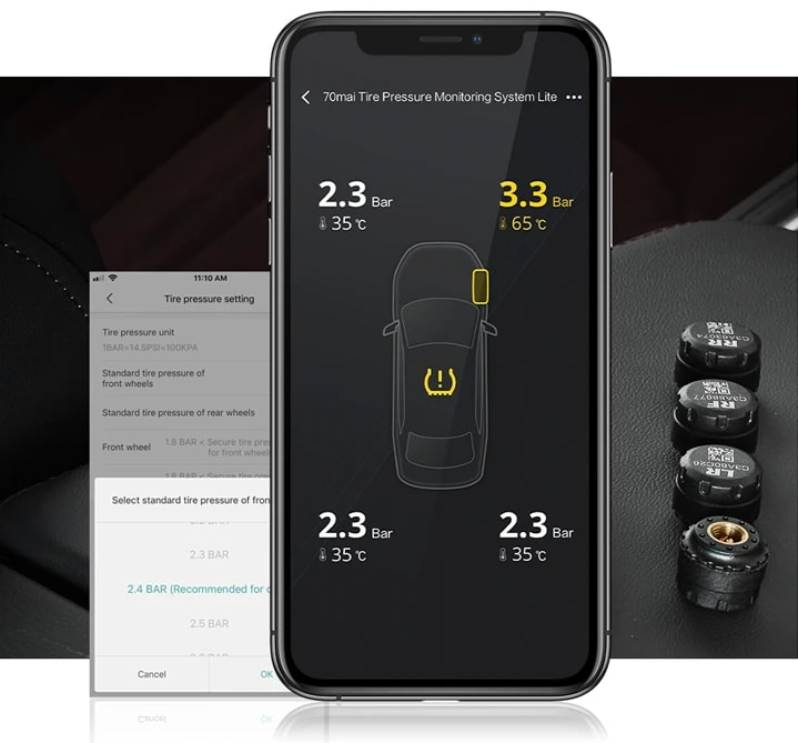 ứng dụng giám sát áp suất lốp 70mai trên điện thoại di động