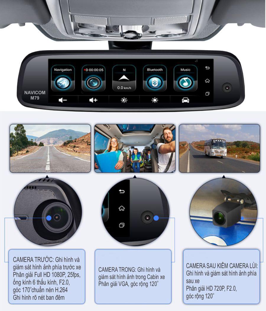 camera hành trình ghi hình 3 kênh trước, trong và sau xe navicom m79 plus