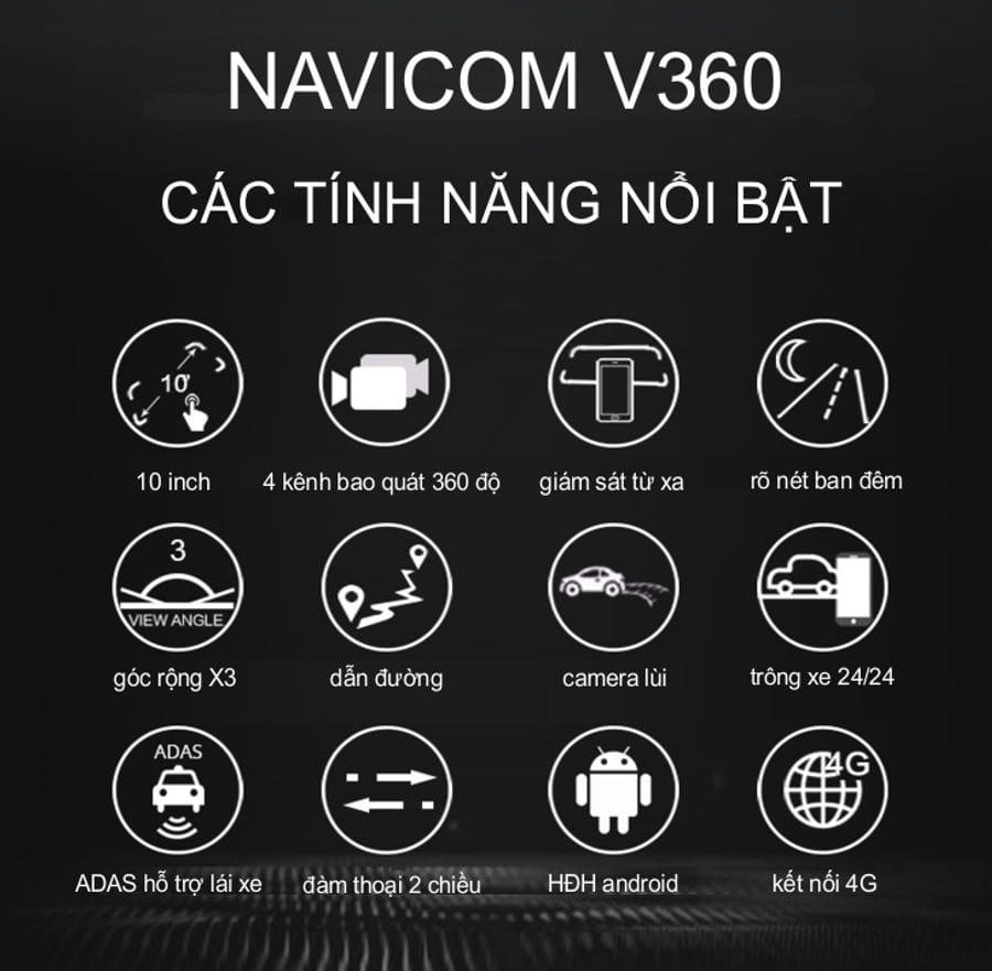 các tính năng nổi bật của camera hành trình navicom v360