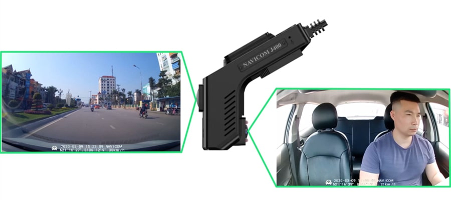 camera hành trình ghi hình trước và trong xe cao cấp navicom j400