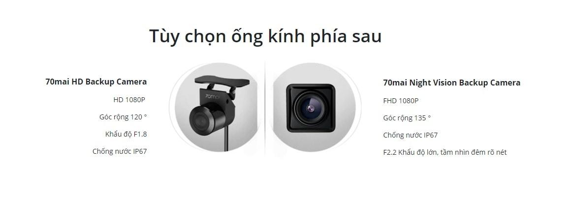 70mai Rearview Dash Cam Wide ghi hình trước sau full hd