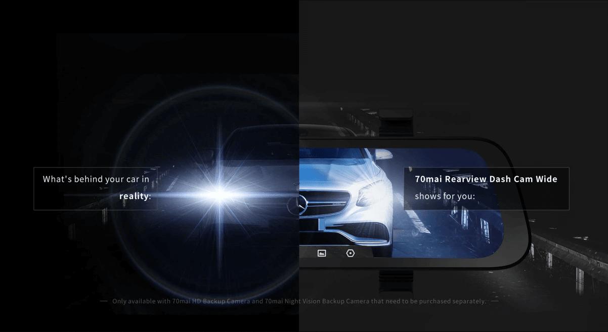 màn hình chống chói lóa - hỗ trợ lái xe an toàn trên 70mai kẹp gương chiếu hậu