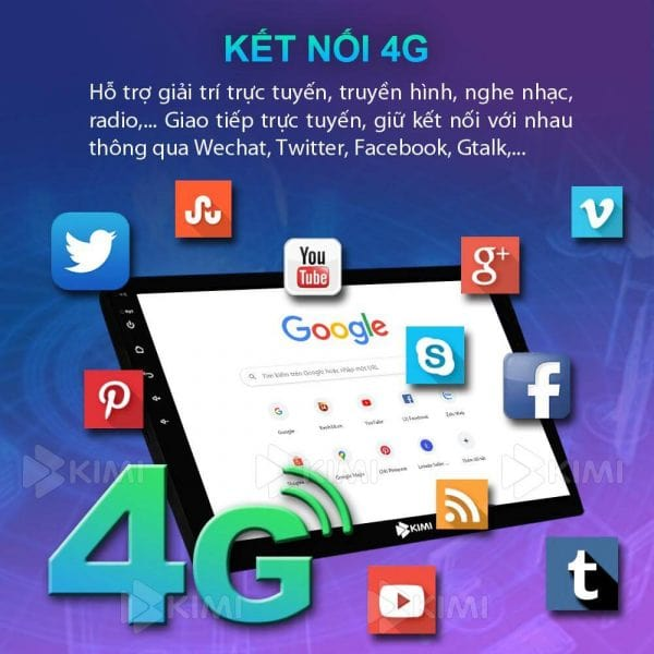màn hình dvd kimi k4 kết nối 4G - WIFI