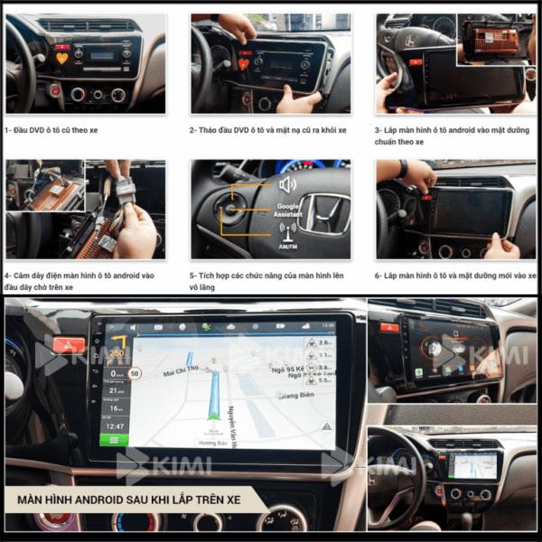 quy tình lắp đặt màn hình ô tô dvd android kimi
