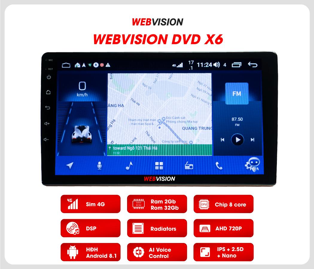 màn hình ô tô dvd android webvision x6