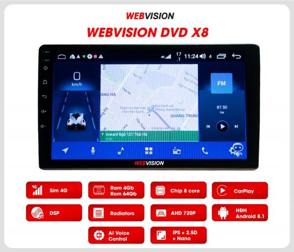 Màn hình ô tô dvd android webvision x8 chính hãng