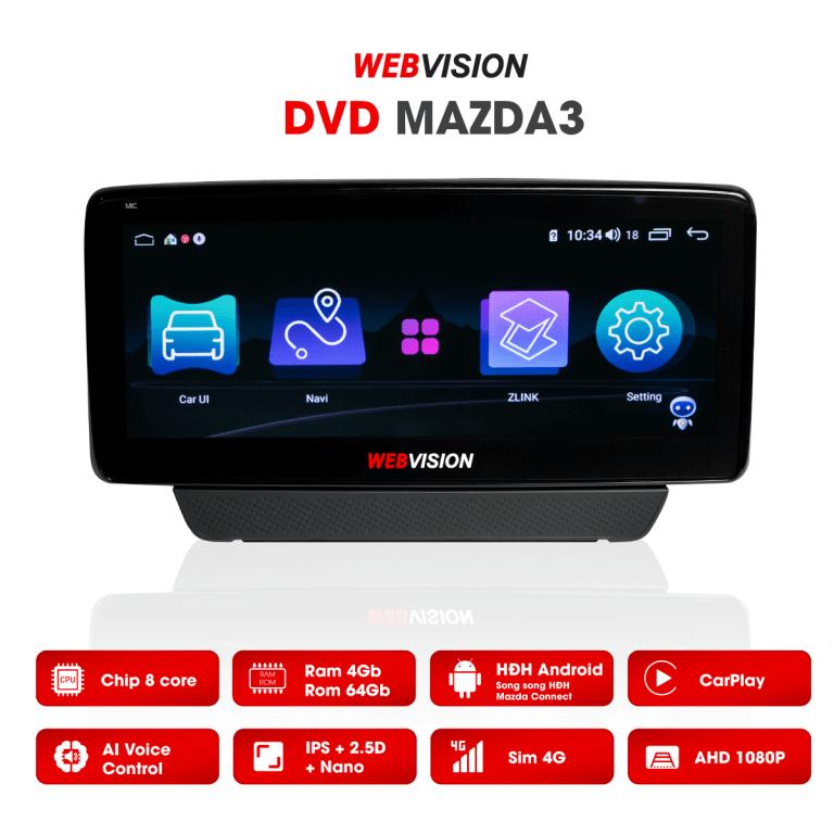 màn hình ô tô dvd android webvision mazda 3