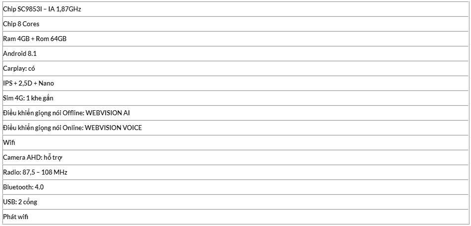 thông số kỹ thuật của màn hình ô tô dvd webvision mazda 6