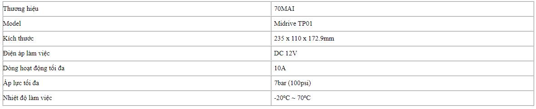 thông số kỹ thuật chi tiết của xiaomi 70mai compressor
